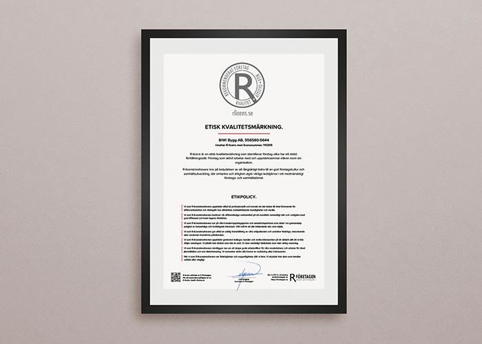 Certifikat för vägg